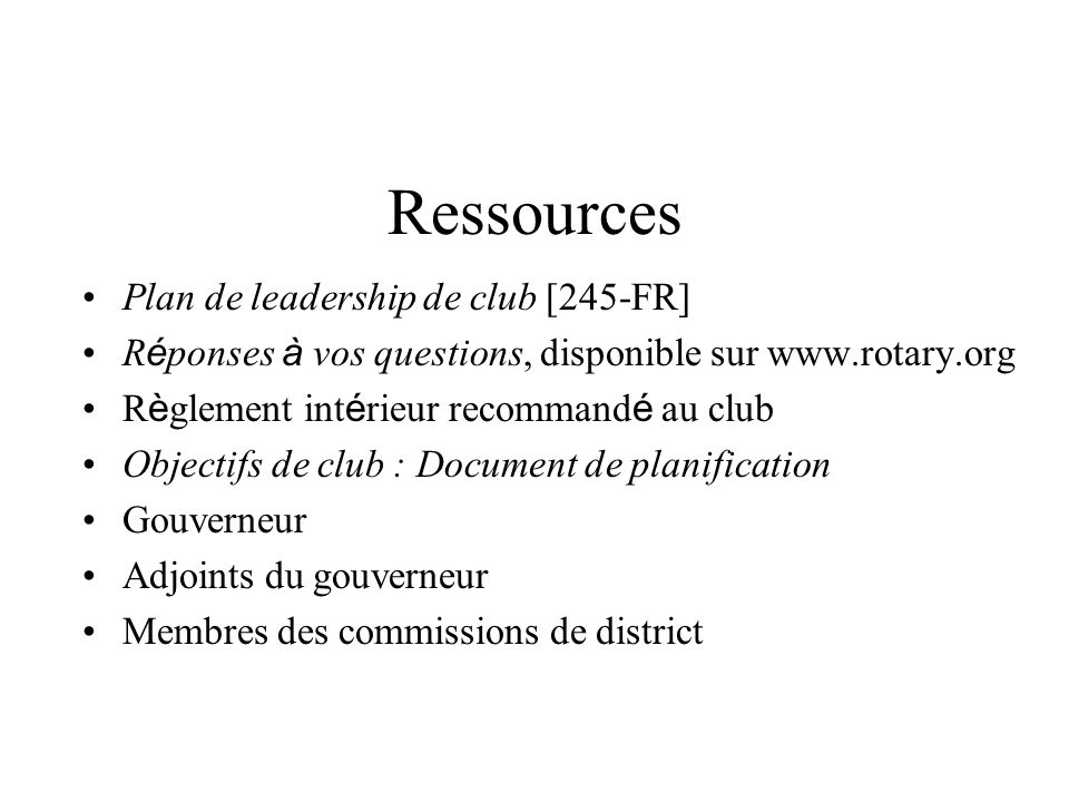 Ressources Plan de leadership de club [245-FR]